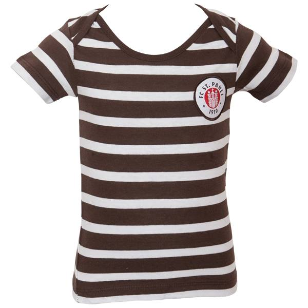 FC St. Pauli Baby T-Shirt Stripes - weiß/braun