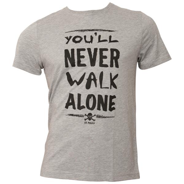 FC St. Pauli - T-Shirt You'll never Walk Alone - Grau-Schwarz