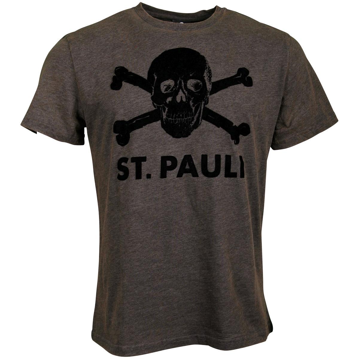 FC St. Pauli - T-Shirt Brown Melange Totenkopf - braun
