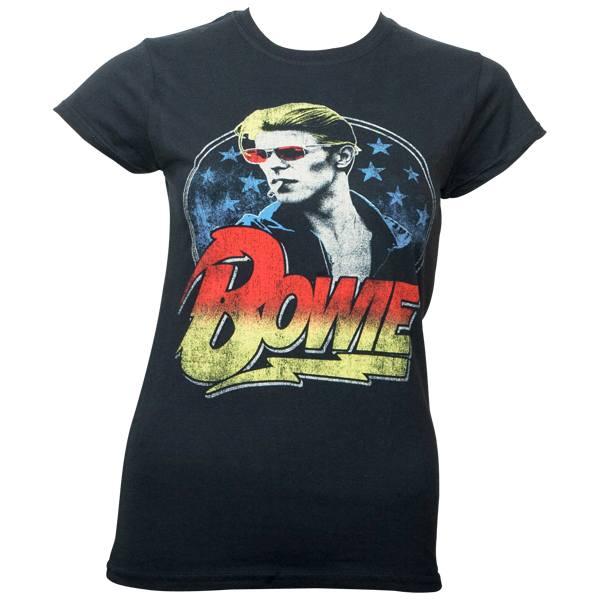 David Bowie - Girlie T-Shirt Smoking - schwarz