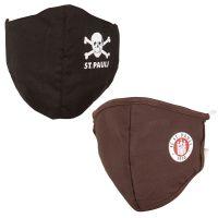 FC St. Pauli - Set Mundbedeckung Totenkopf & Logo - schwarz braun