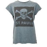 FC St. Pauli - Damen T-Shirt Blue Screen Totenkopf - grau