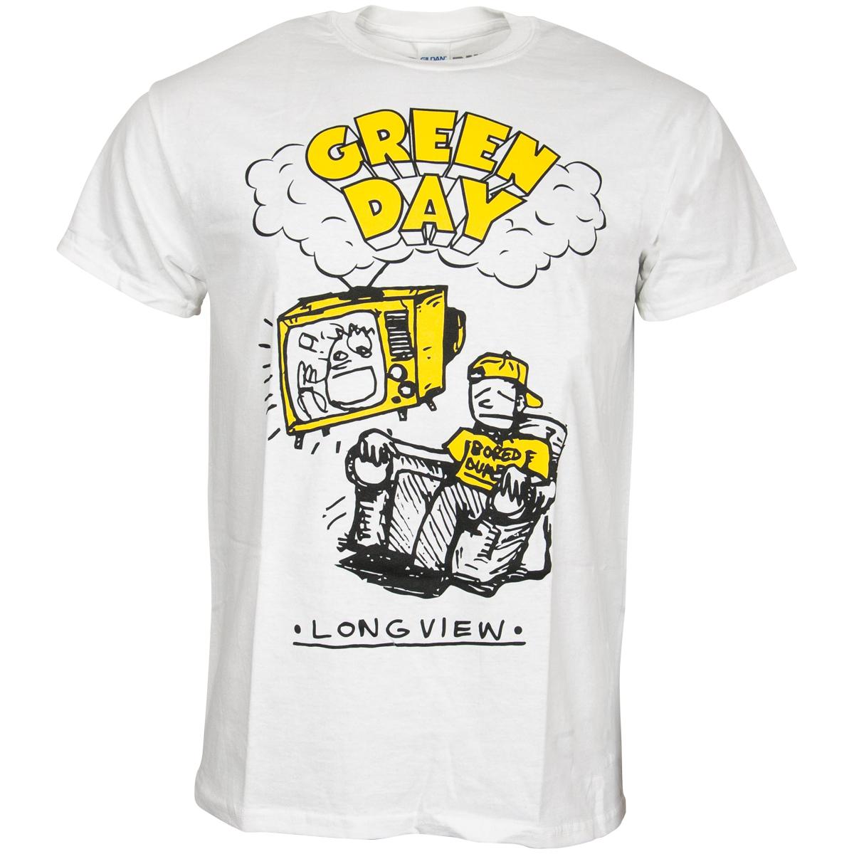 Green Day - T-Shirt Longview Doodle - weiß