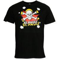 FC St. Pauli - T-Shirt Totenkopf Pow Schwarz-Rot - Schwarz
