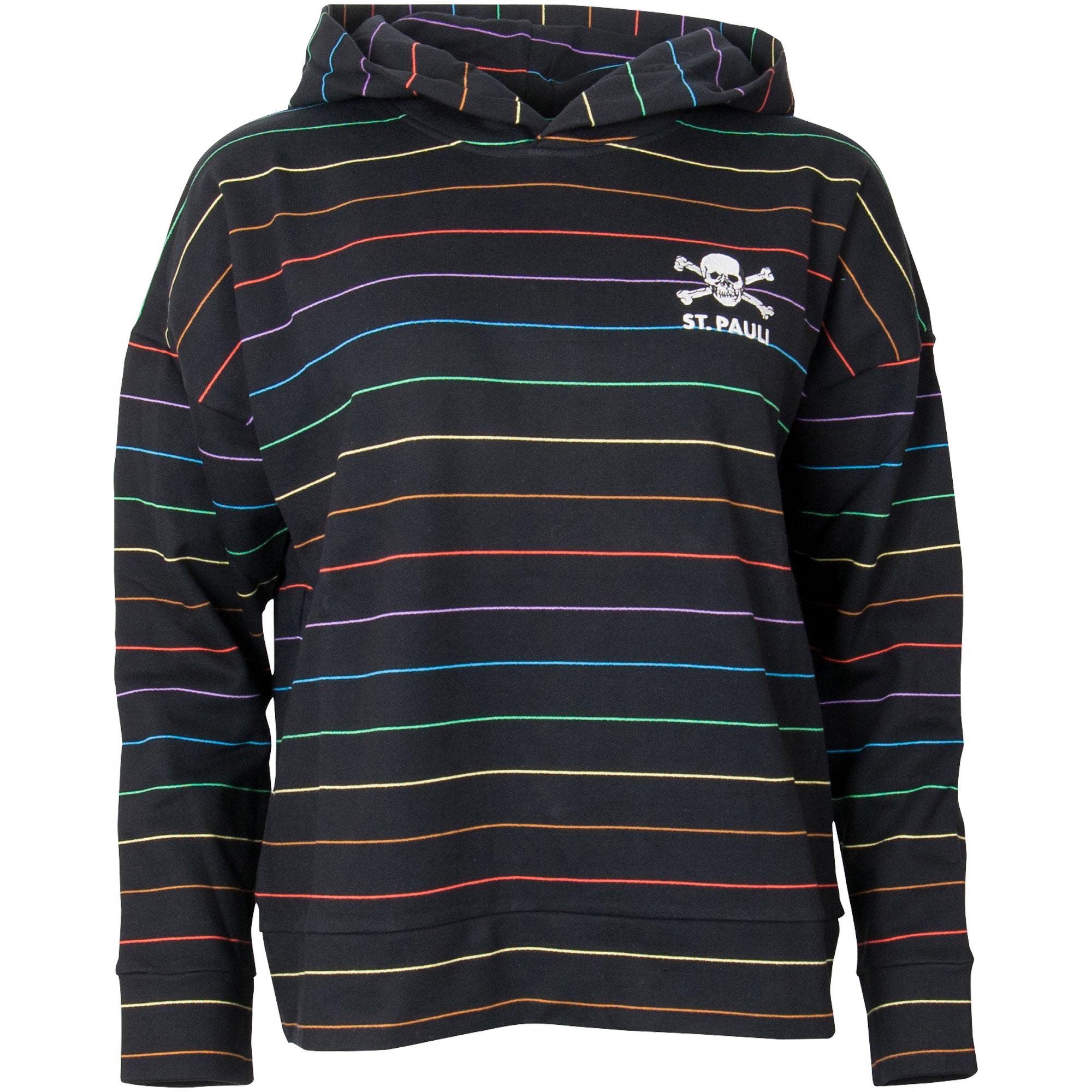 FC St. Pauli - Damen Kapuzenpullover Rainbow Stripes - schwarz
