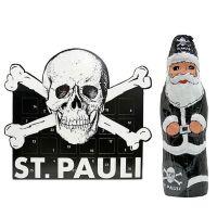 FC St. Pauli - Set mit Adventskalender und Schokoweihnachtsmann - schwarz