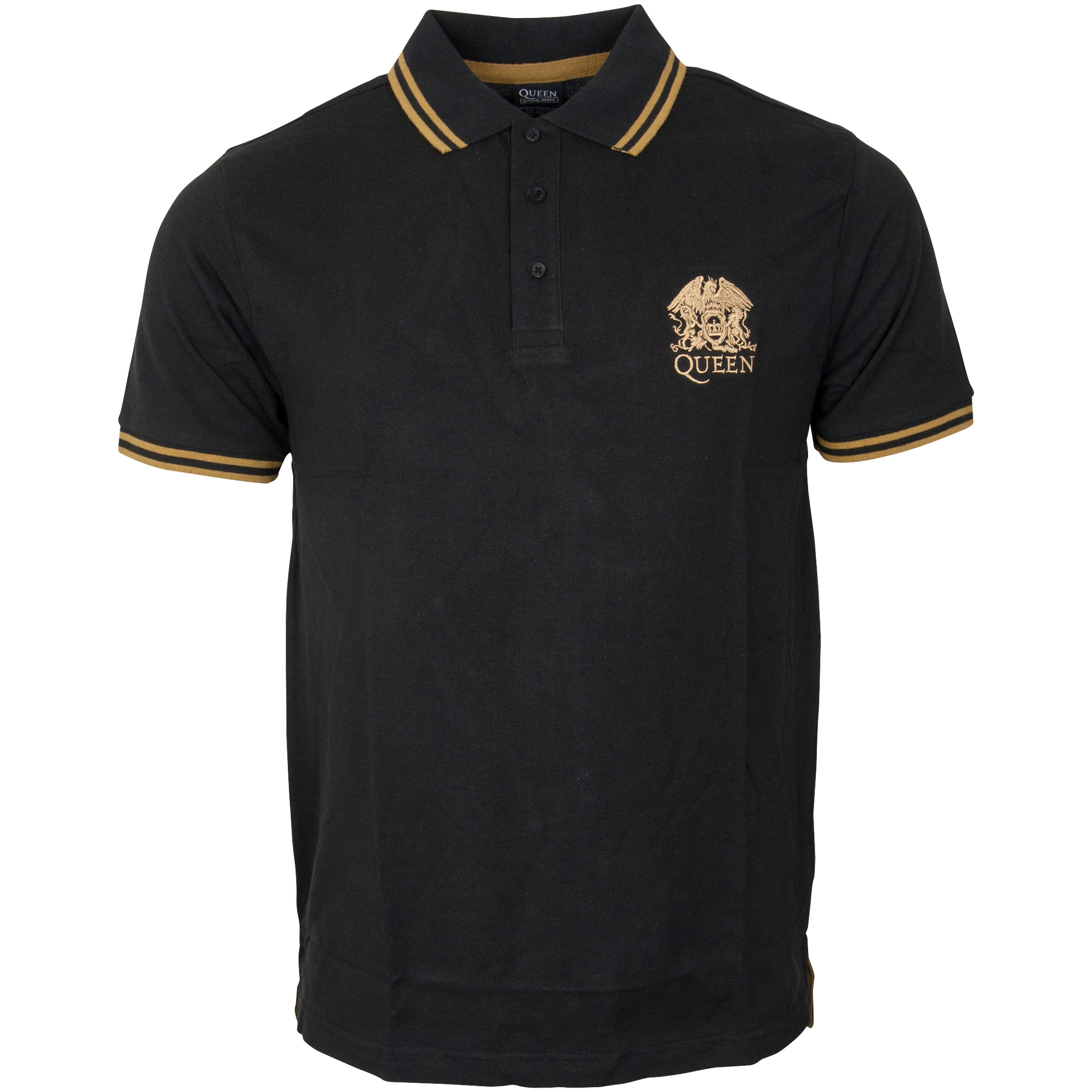 Queen - Polo Shirt Crest Logo - schwarz