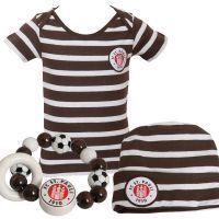 FC St. Pauli - Baby Set Logo Stripes - weiß-braun