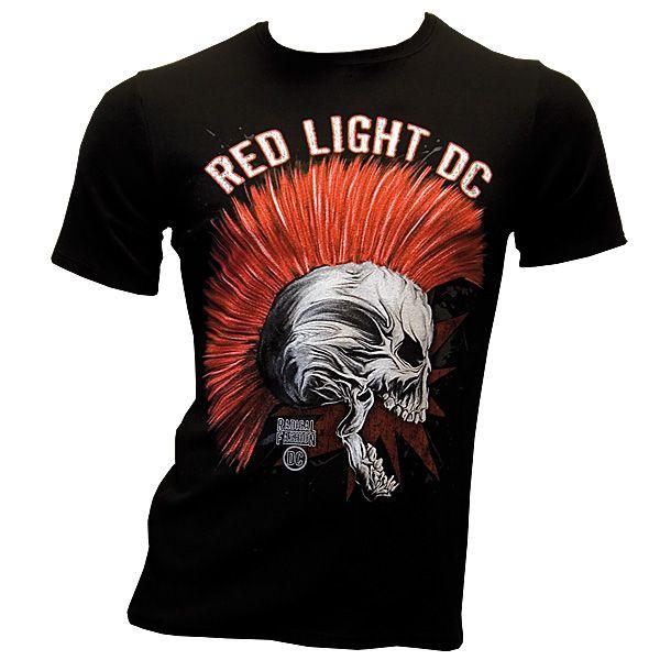 Red Light DC - Punk Skull - T-Shirt - schwarz