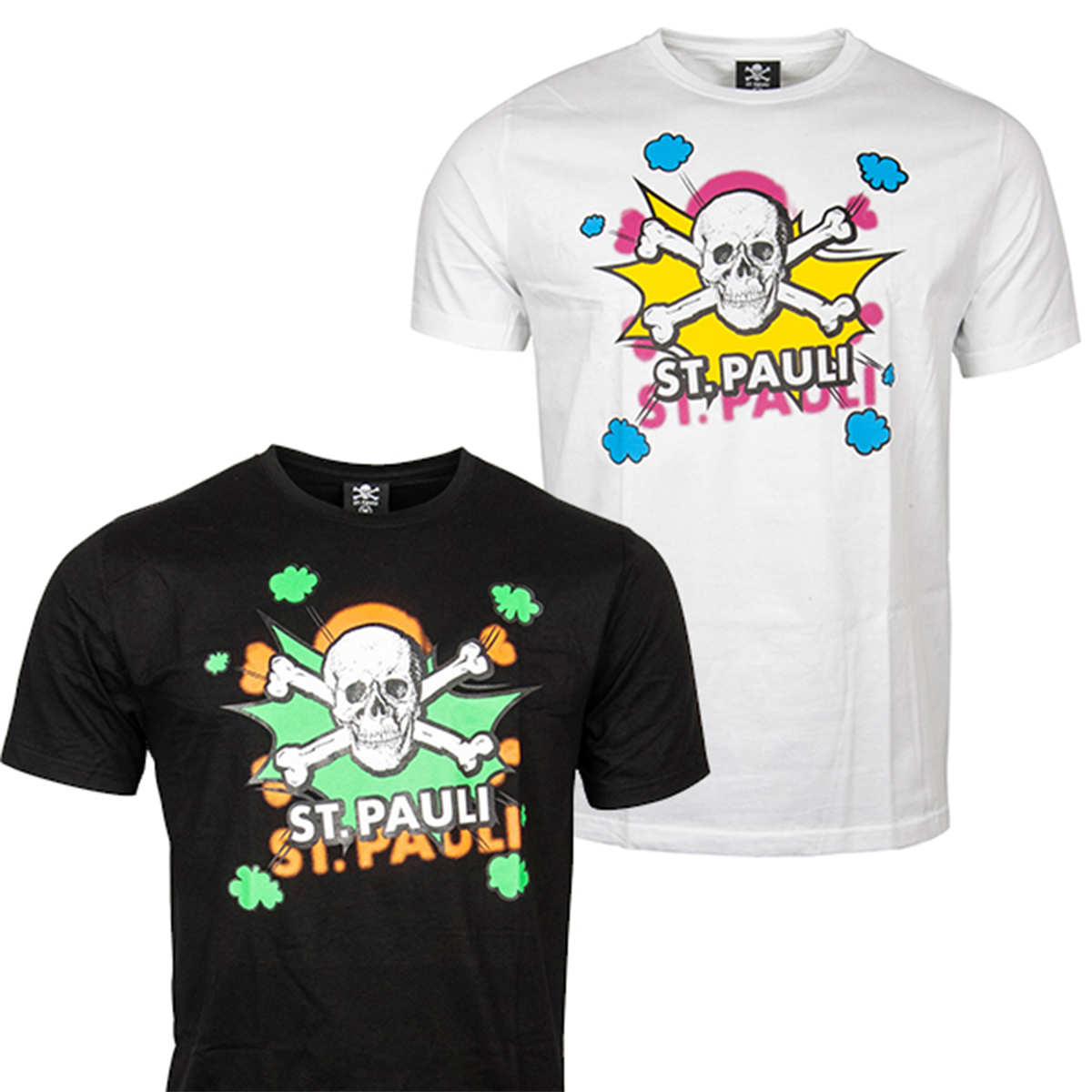 FC St. Pauli - T-Shirt Set Totenkopf Pow - Weiß/Schwarz