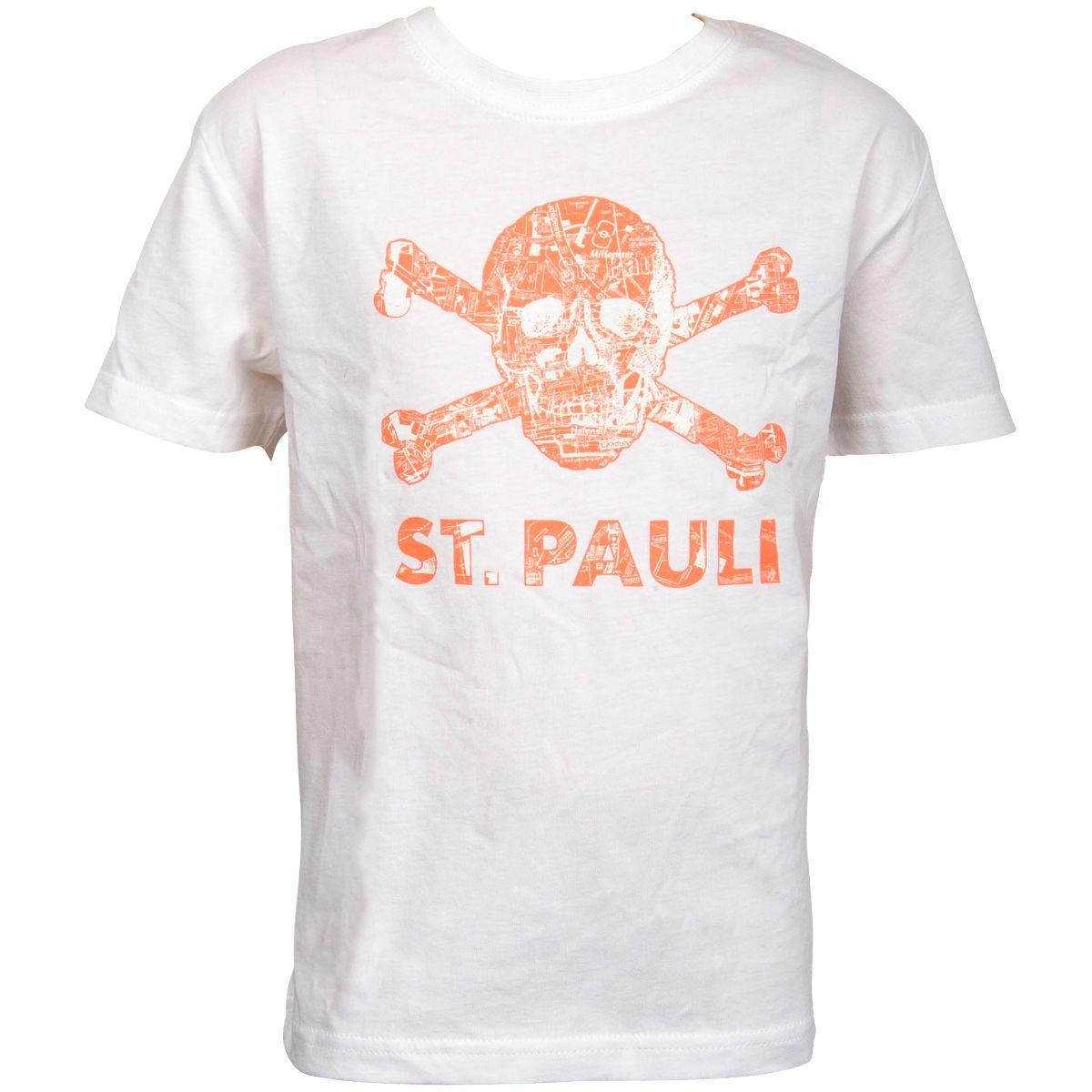 FC St. Pauli - Kinder T-Shirt Totenkopf Stadtplan Weiss-Apricot - weiß