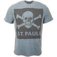 FC St. Pauli - T-Shirt Blue Screen Totenkopf - grau