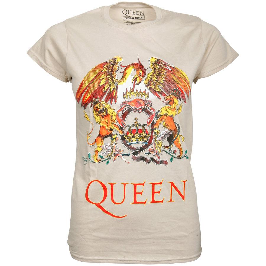 Queen - Damen T-Shirt Classic Crest - weiß
