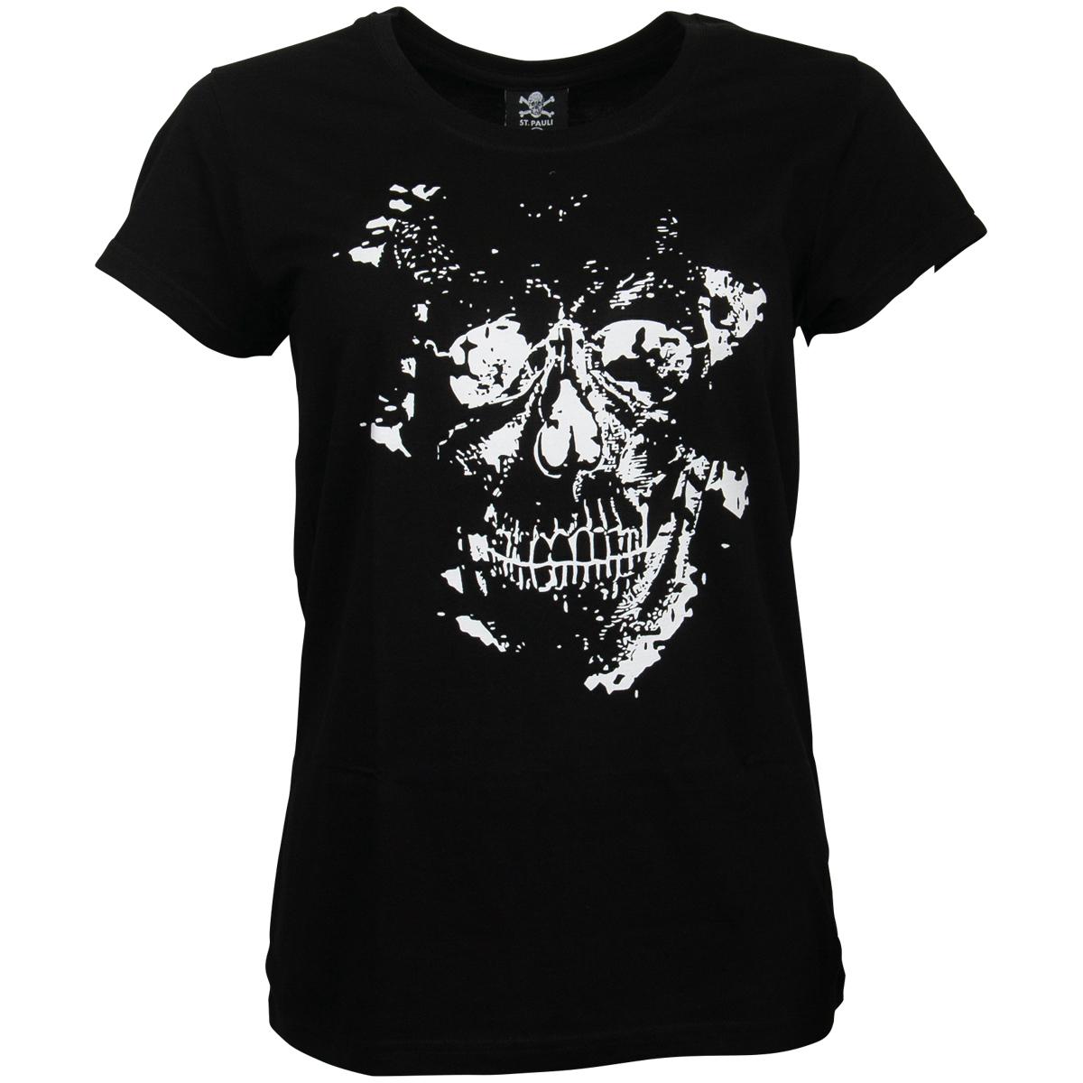 FC St. Pauli - Damen T-Shirt Skully - schwarz