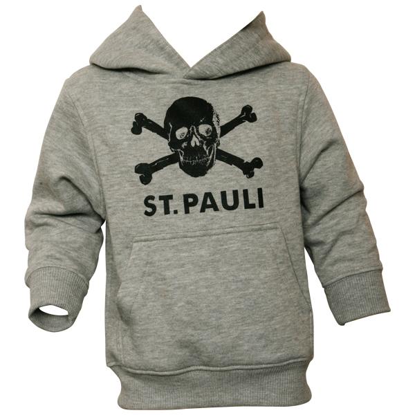 FC St. Pauli - Kinder Kapuzenpullover Totenkopf - grau