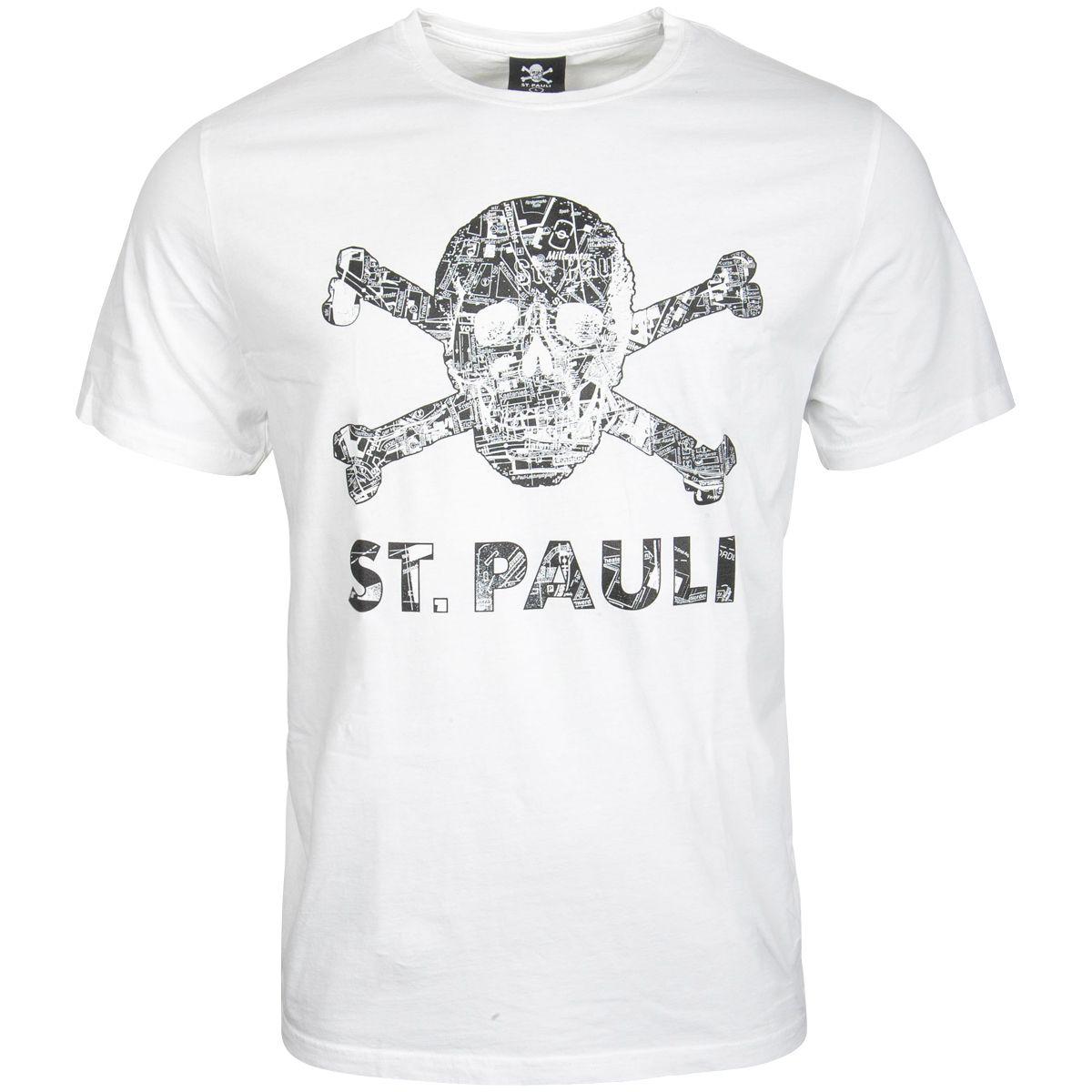 FC St. Pauli - T-Shirt Totenkopf Stadtplan Weiss-Schwarz - weiß