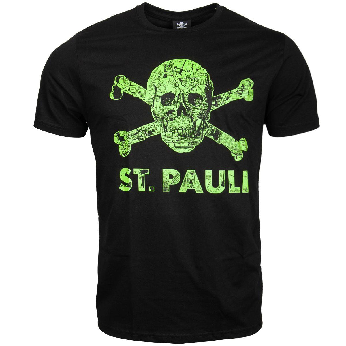 FC St. Pauli - T-Shirt Totenkopf Stadtplan Schwarz-Grün - schwarz