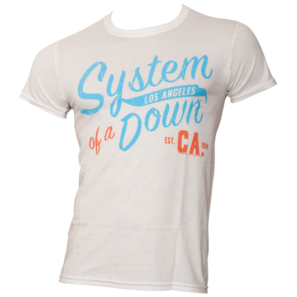 System Of A Down - T-Shirt Script CA - weiß