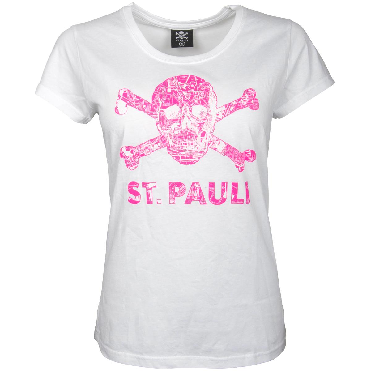 FC St. Pauli - Damen T-Shirt Totenkopf Stadtplan Weiss-Pink - weiß