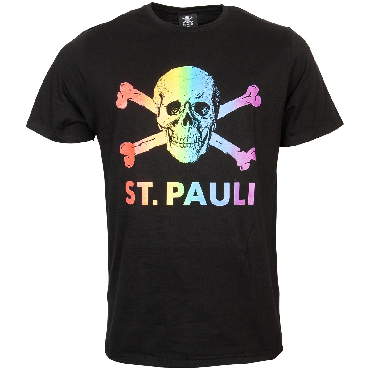 FC St. Pauli - T-Shirt Regenbogen Totenkopf - schwarz