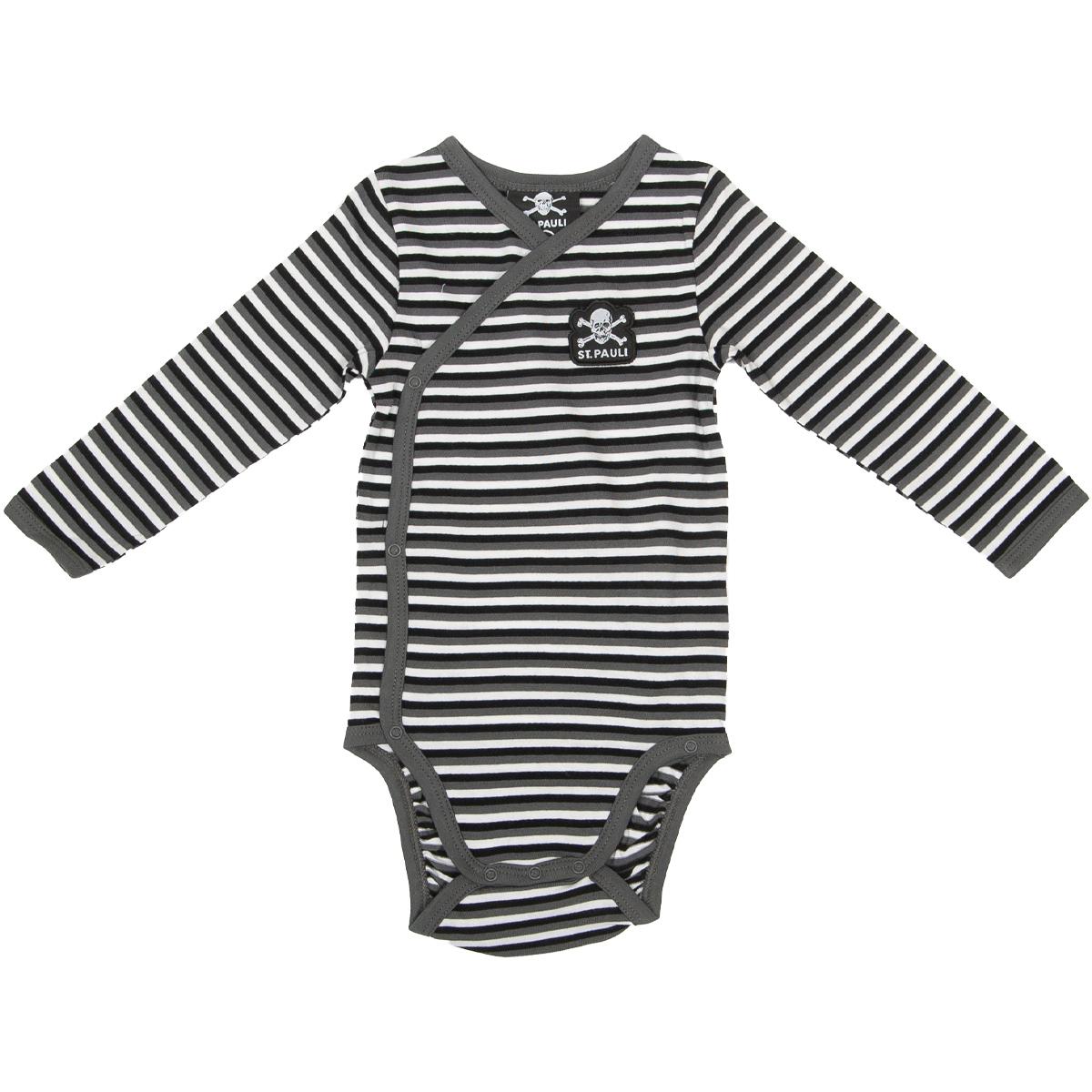 FC St. Pauli - Baby Body Streifen - grau-weiß