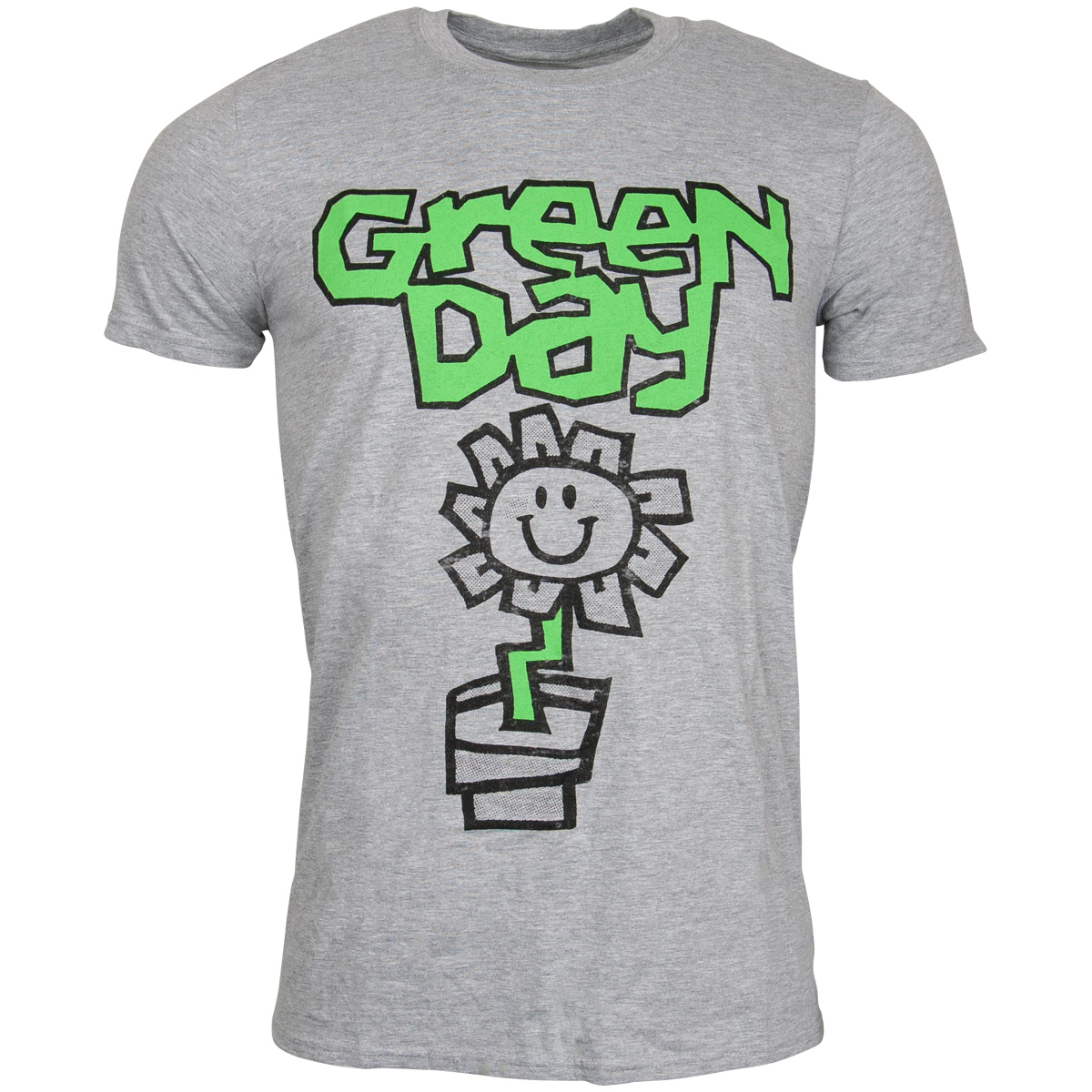 Green Day - T-Shirt Flower Pot- grau