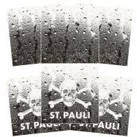 FC St. Pauli - Fliesenaufkleber Totenkopf 3 x 2er Set - transparent-schwarz