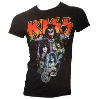 Kiss - T-Shirt Neon Band - schwarz