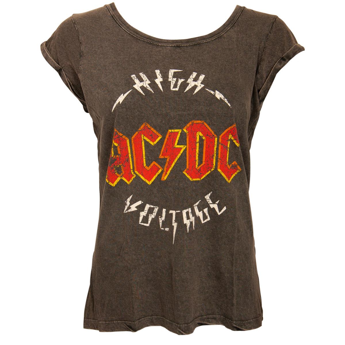 AC/DC - Damen T-Shirt Logo High Voltage - grau