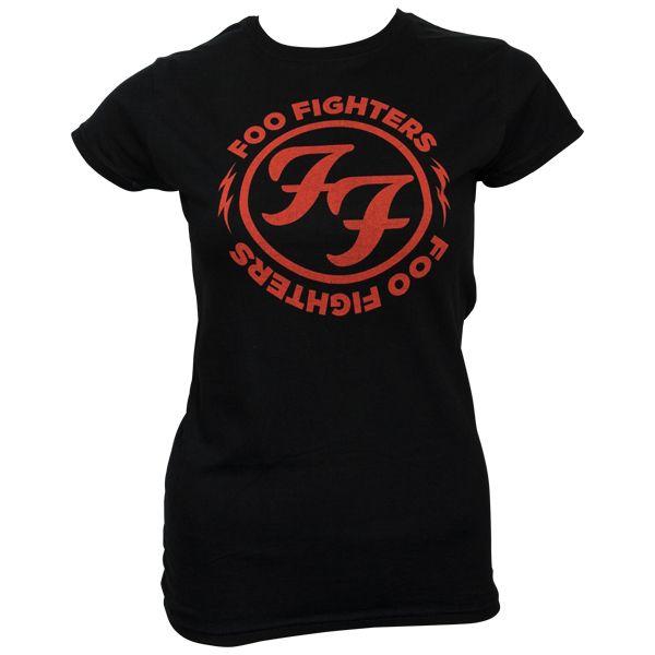 Foo Fighters - Frauen T-Shirt Logo Red Circle - schwarz