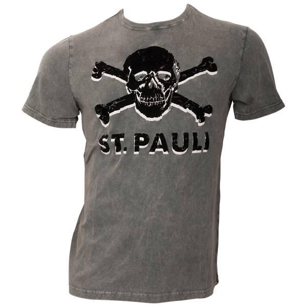 FC St. Pauli - T-Shirt Coldwash Black - grau