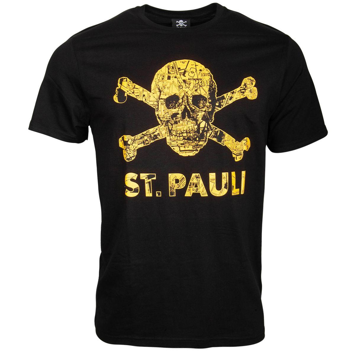 FC St. Pauli - T-Shirt Totenkopf Stadtplan Schwarz-Orange- schwarz
