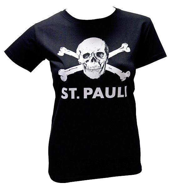 FC St. Pauli - Girly Shirt Totenkopf groß - schwarz
