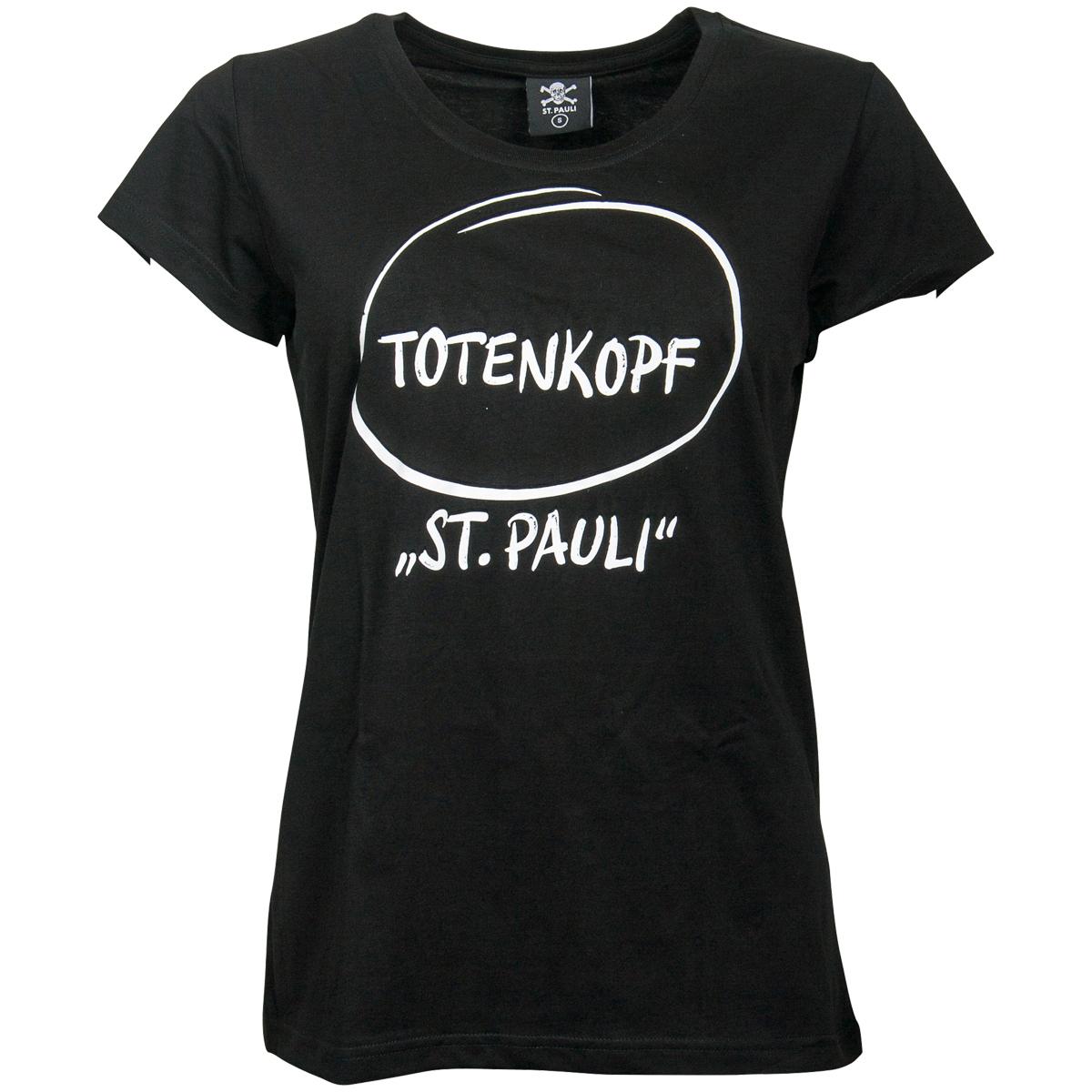FC St. Pauli - Damen T-Shirt Marketing First Totenkopf - schwarz