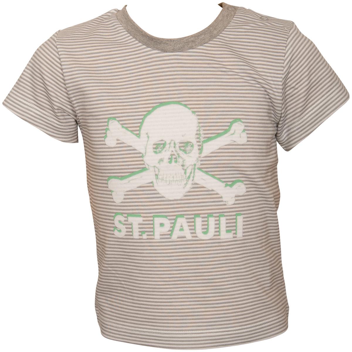 FC St. Pauli - Baby T-Shirt Totenkopf - Grau Weiß Gestreift