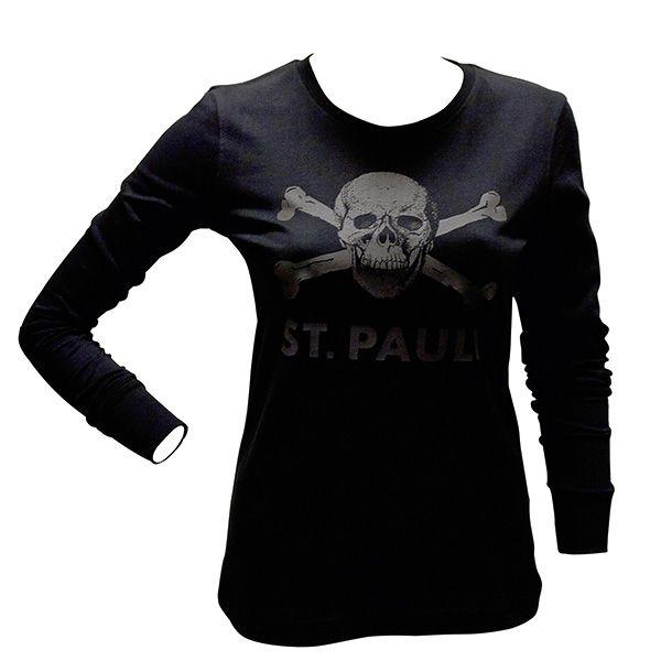 FC St. Pauli - Girly Longsleeve Totenkopf - anthrazit