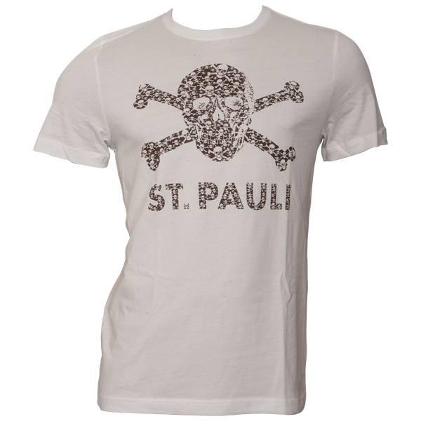 FC St. Pauli - T-Shirt Totenkopf Schädel - Weiß-Braun - weiß
