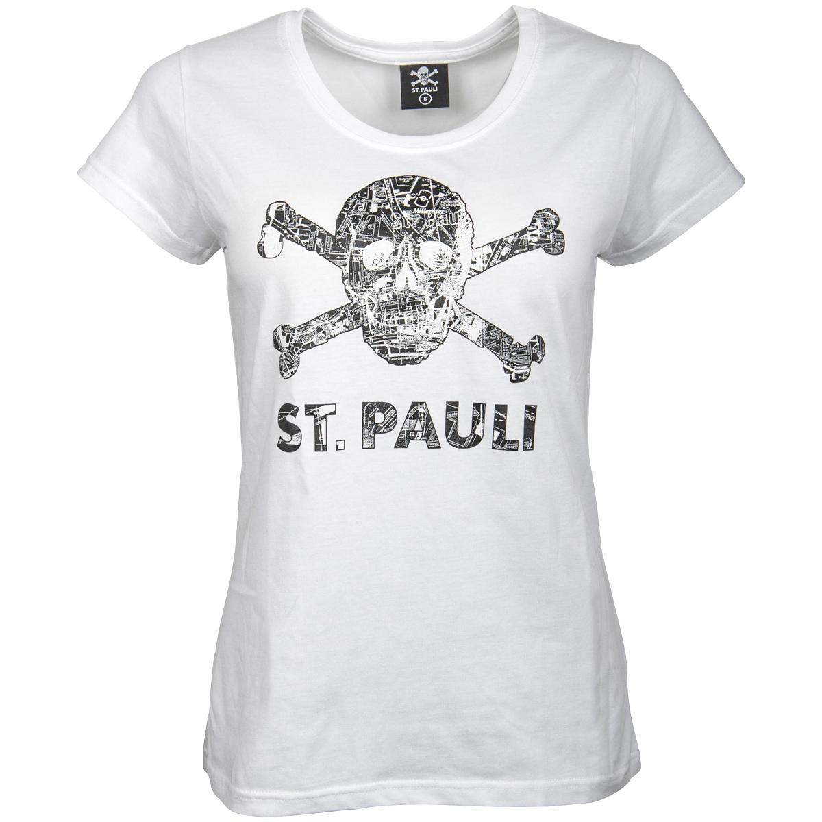 FC St. Pauli - Damen T-Shirt Totenkopf Stadtplan Weiss-Schwarz - weiß
