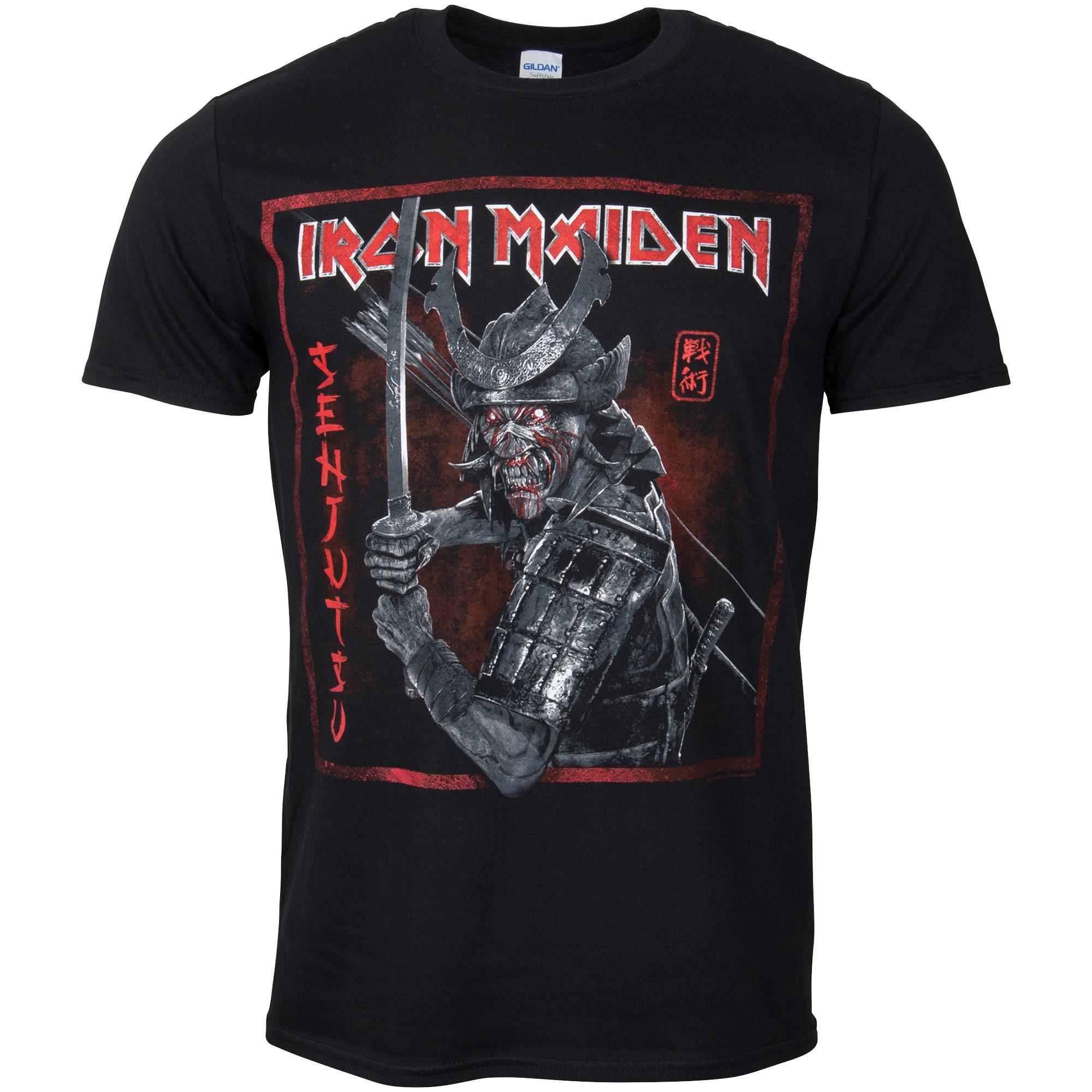 Iron Maiden - T-Shirt Senjutsu Cover Distressed Red - schwarz