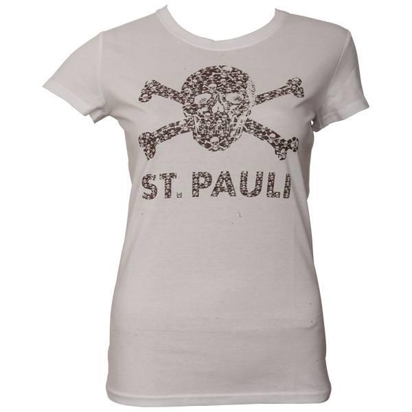 FC St. Pauli - Frauen T-Shirt Totenkopf Schädel - Weiß-Braun - weiß