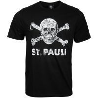 FC St. Pauli - T-Shirt Totenkopf Stadtplan Schwarz-Weiss - schwarz