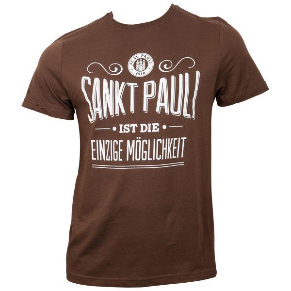 FC St. Pauli - T-Shirt Einzige Möglichkeit - braun/weiß