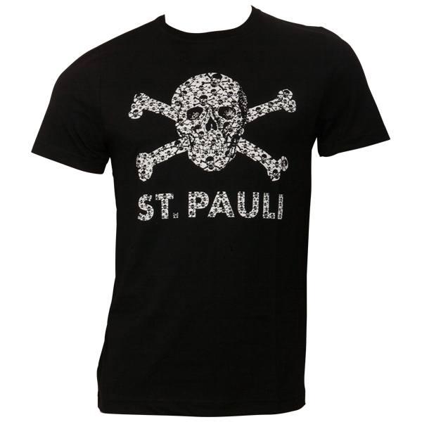 FC St. Pauli - T-Shirt Totenkopf Schädel - Schwarz-Weiß - schwarz