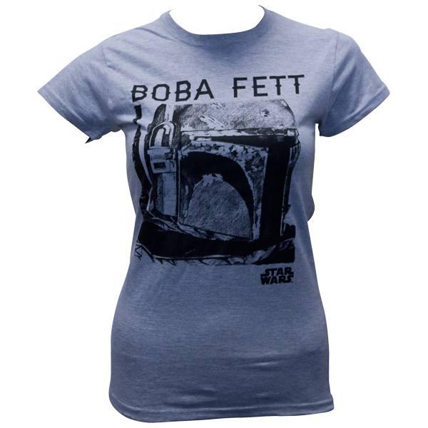"""Star Wars - Girlie-Shirt """"Boba Fett Portrait """" - graumeliert"""