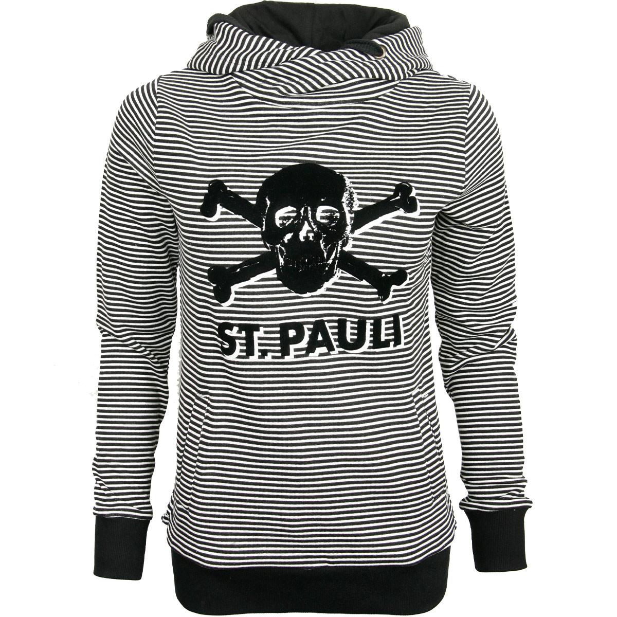 FC St. Pauli - Damen Kapuzenpullover Stripe Terry Totenkopf - schwarz-weiß