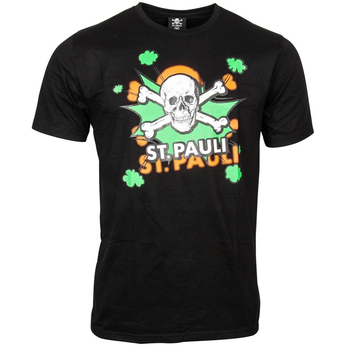 FC St. Pauli - T-Shirt Totenkopf Pow Schwarz-Grün - Schwarz