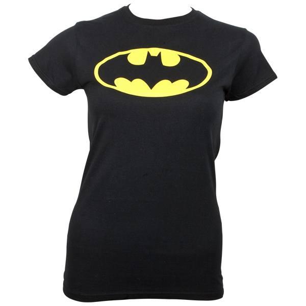 Batman - Girlie T-Shirt Logo - schwarz