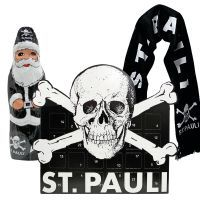 FC St. Pauli - Advents-Set mit Schal Totenkopf - schwarz