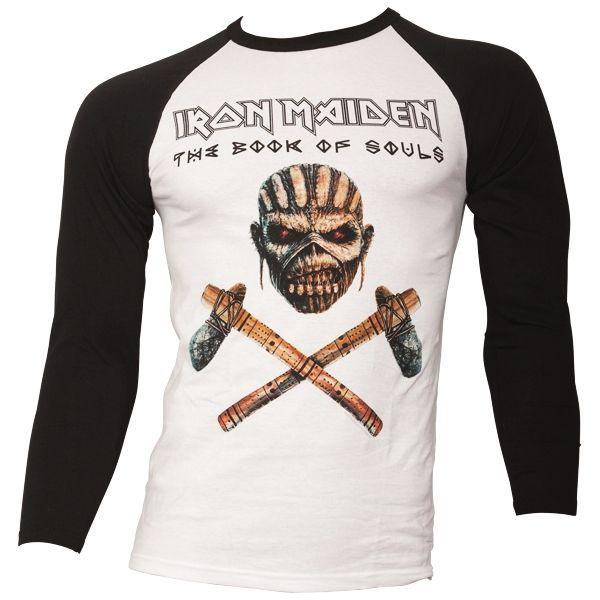 Iron Maiden - Baseball Shirt Axe Colour - schwarz/weiß
