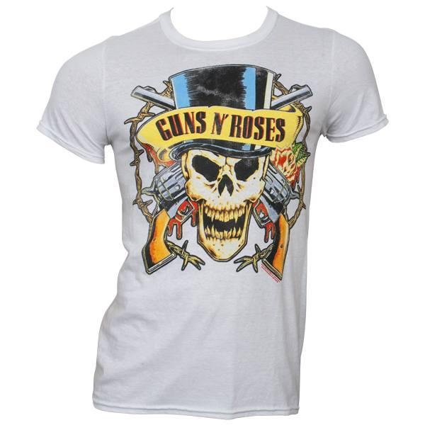 Guns N Roses - T-Shirt Distressed Top Hat - weiß